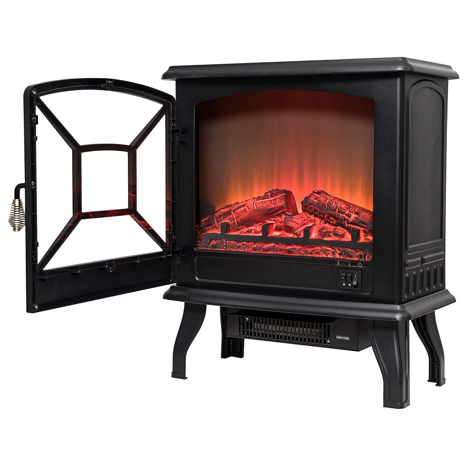 Akdy 20 Black Finish Freestanding Log Fuel Bed 2 Setting Level Electric Fireplace He Fireplace Heater Electric Fireplace Heater Electric Fireplace
