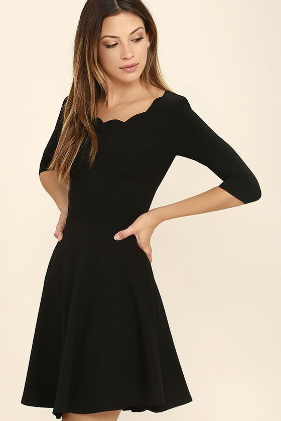 885c214daf0 Lulus Exclusive! The Tip the Scallops Black Dress never fails to tip the  scales in your favor! A fitted bodice comes with half sleeves and a unique  and ...