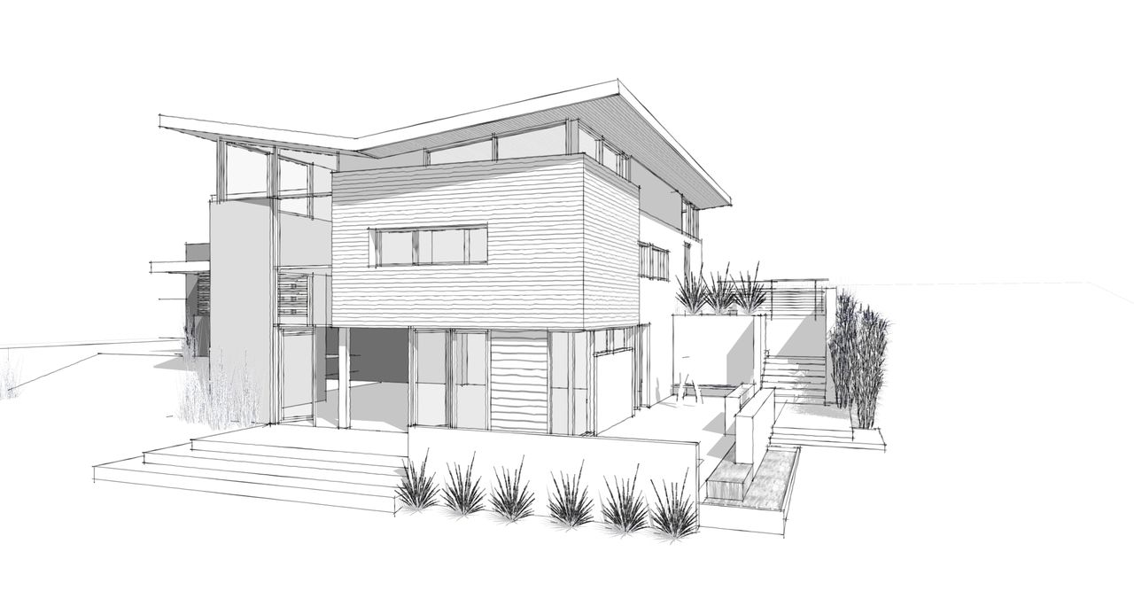 Modern home architecture sketches joigoo all about the for Two story house drawing