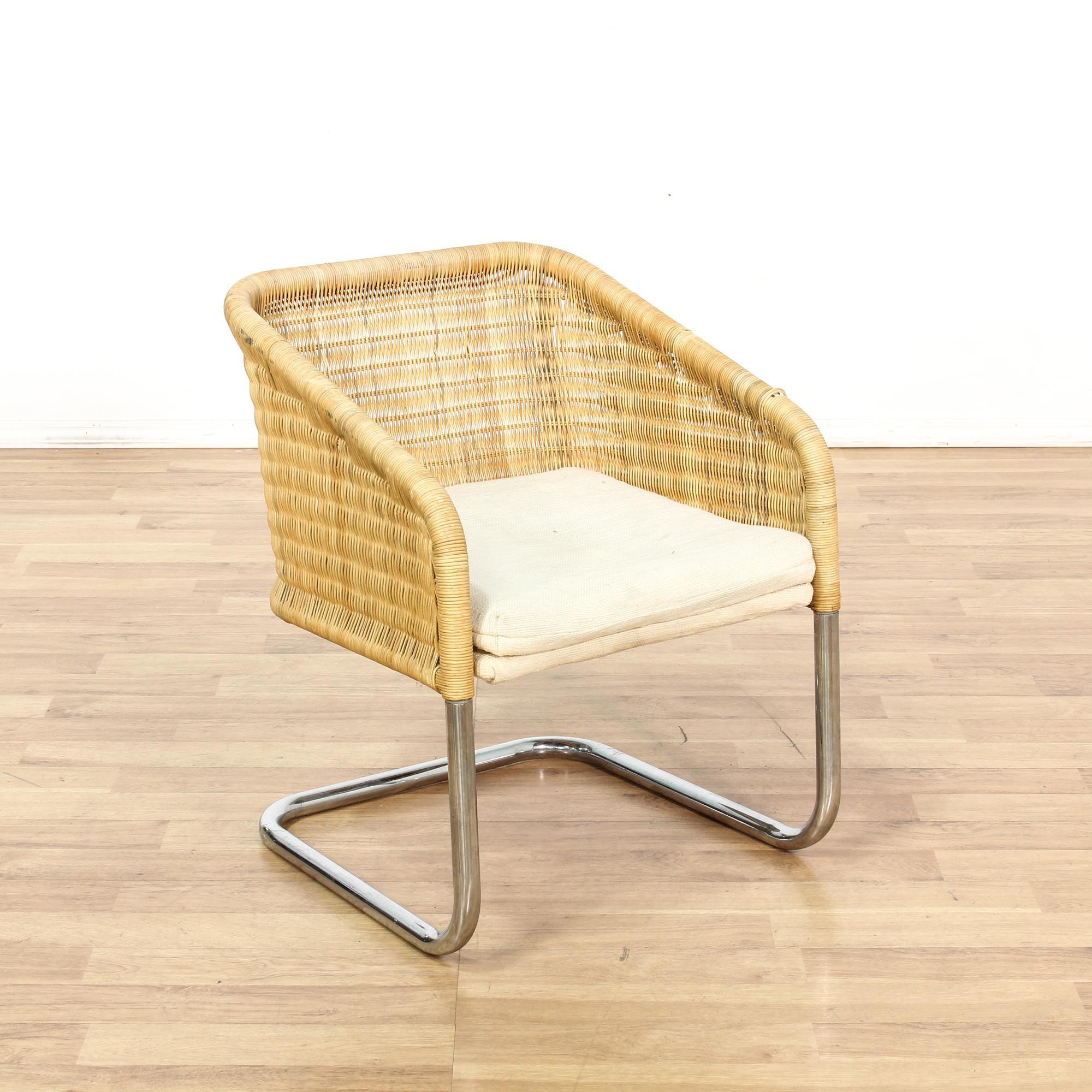 Mid Century Modern Wicker & Chrome Accent Chair