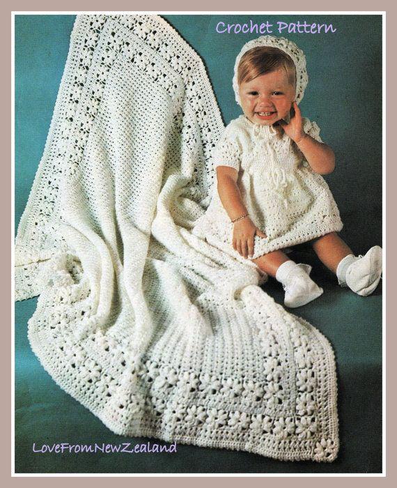 PDF Crochet Pattern / Shawl Dress Bonnet / Christening or Baptism ...