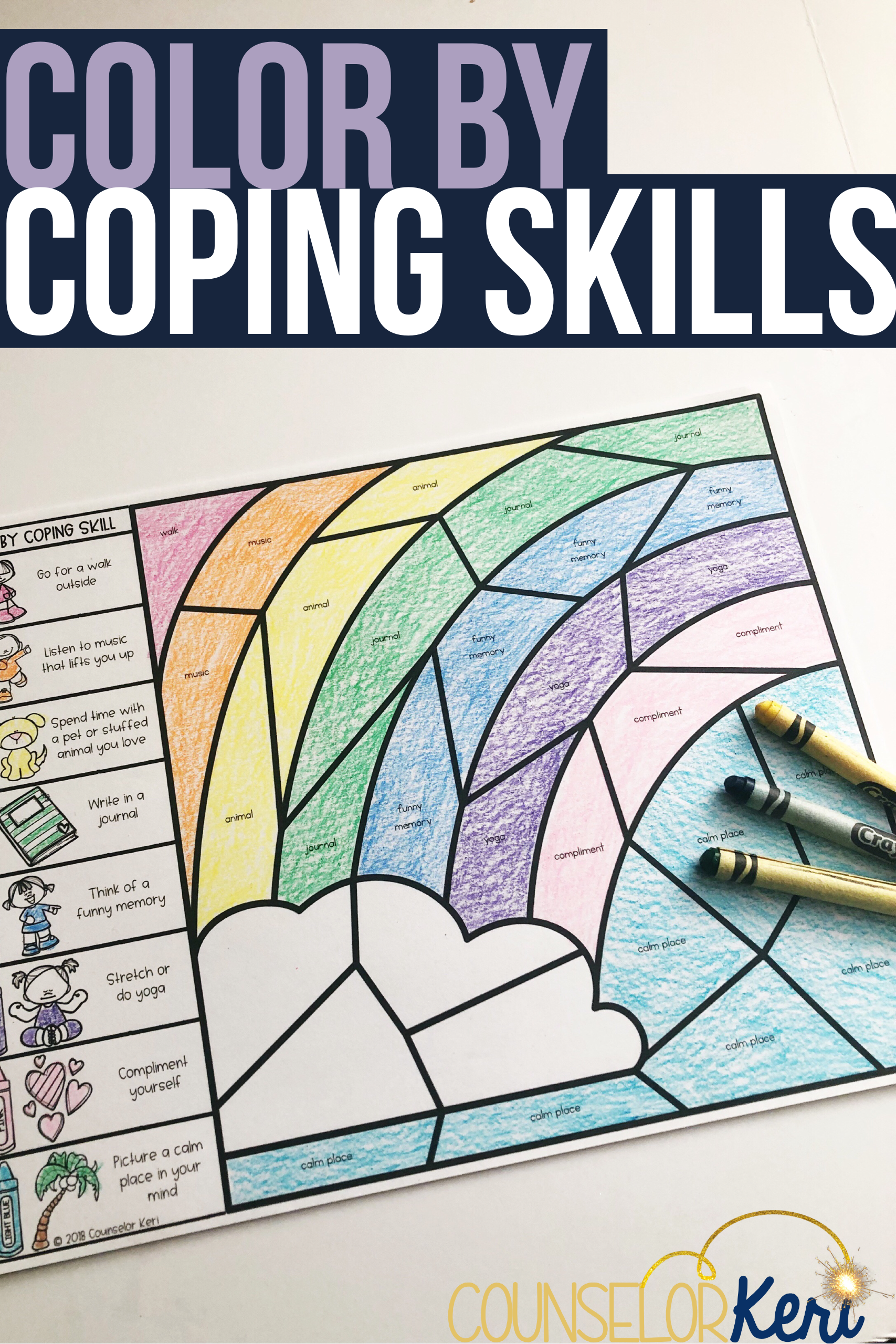 Color By Coping Skills Spring Activity For School