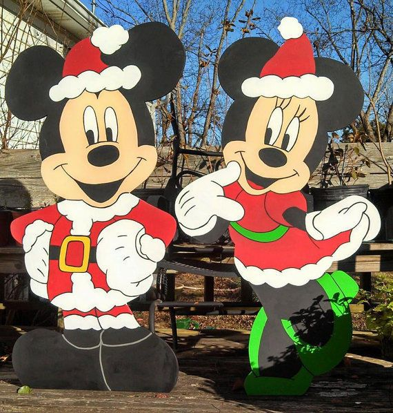 Details about Mickey Mouse and Minnie Mouse Wood Christmas Yard Art - disney christmas yard decorations