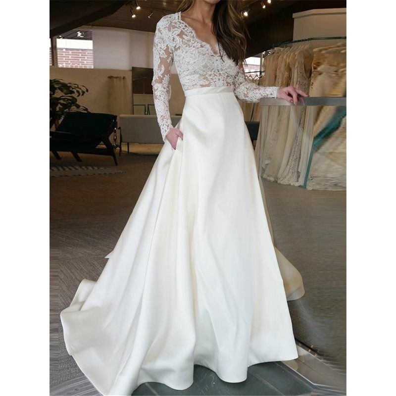 Pockets Lace Wedding Dress With Long Sleeves Wedding Dresses