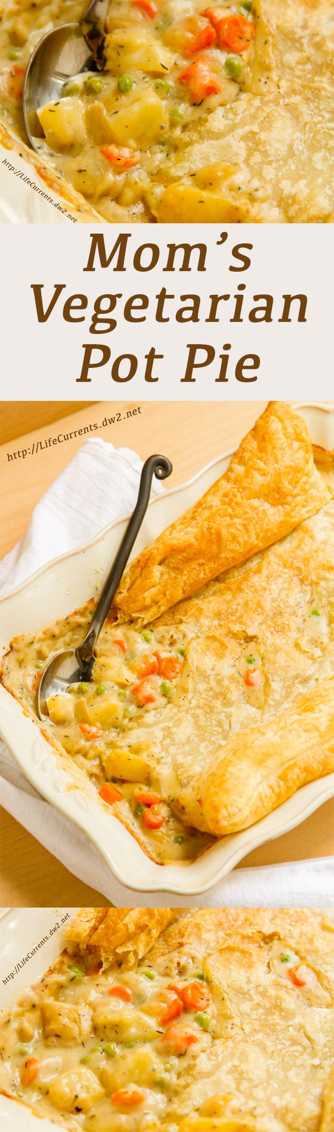Mom's Vegetarian Pot Pie is yummy comfort food and great for Thanksgiving or Christmas dinner!