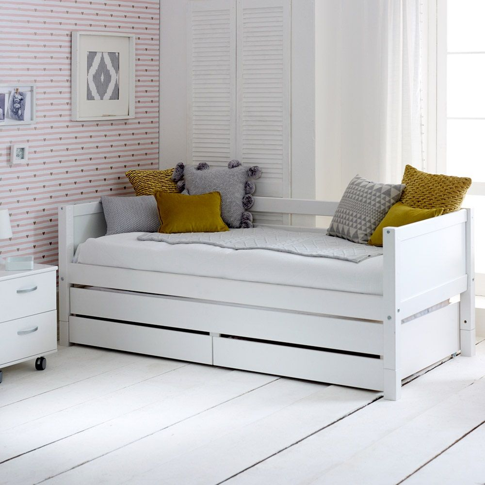 - Flexa Nordic Kids Day Bed With Trundle Bed & Drawers In White