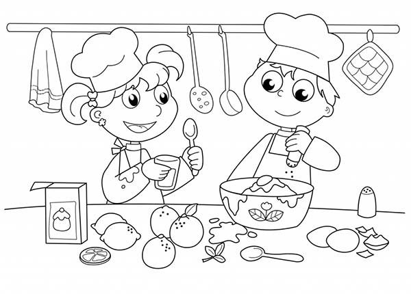 Kids Baking Cake In Cooking Show Bakery Coloring Pages Bulk Color Free Kids Coloring Pages Cool Coloring Pages Kids Colouring Printables
