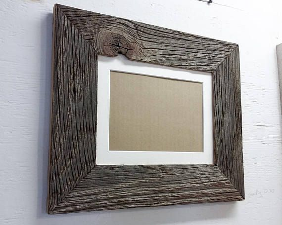 Authentic Barn Wood Frame 8 X 10 Inch With White Matting To 5 X 7