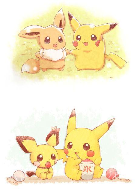 Pikachu Eevee and Pichu | Pokémon | Pinterest | Pikachu, Pokémon y ...