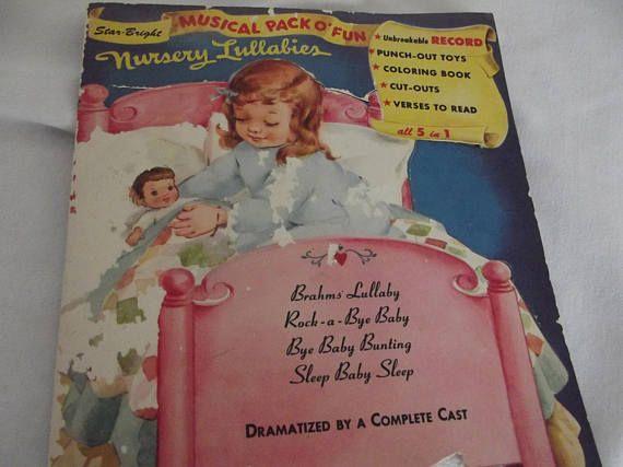 Children S Vintage Vinyl Record Comes With Coloring Book Etsy Vintage Vinyl Records Vinyl Records Bright Nursery