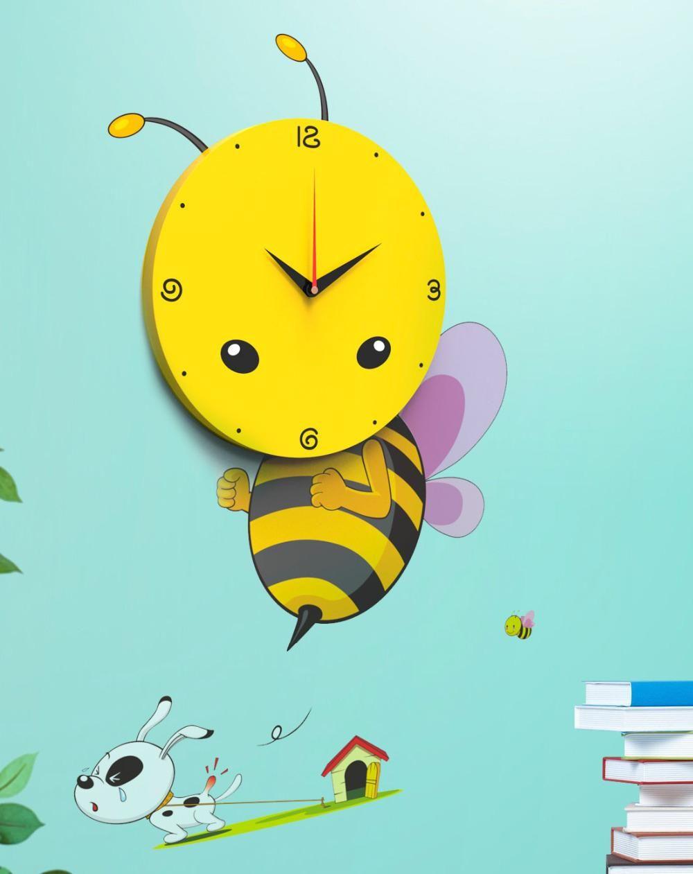 Cartoon 3d Bee Wand Aufkleber Wand Taktgeber Mit Diy Wand Papier ...