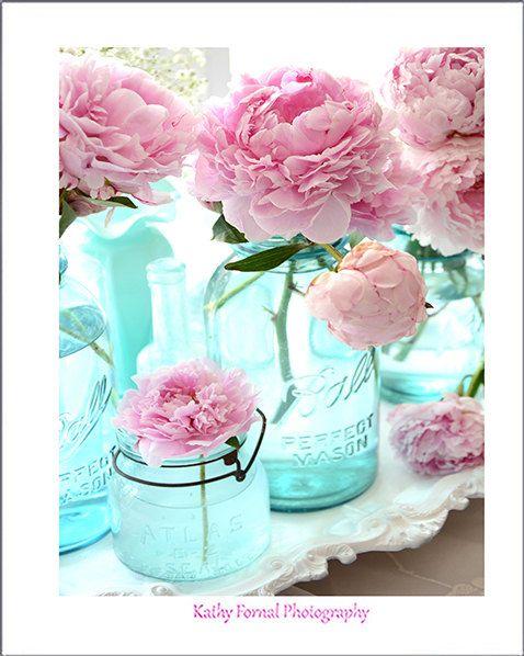 Photo of Shabby Chic Decor, Peony Prints, Peony Flower Wall Prints, Peonies Aqua Mason Jars, Peony Photos, Peony Prints, Pink Peonies Flower Prints