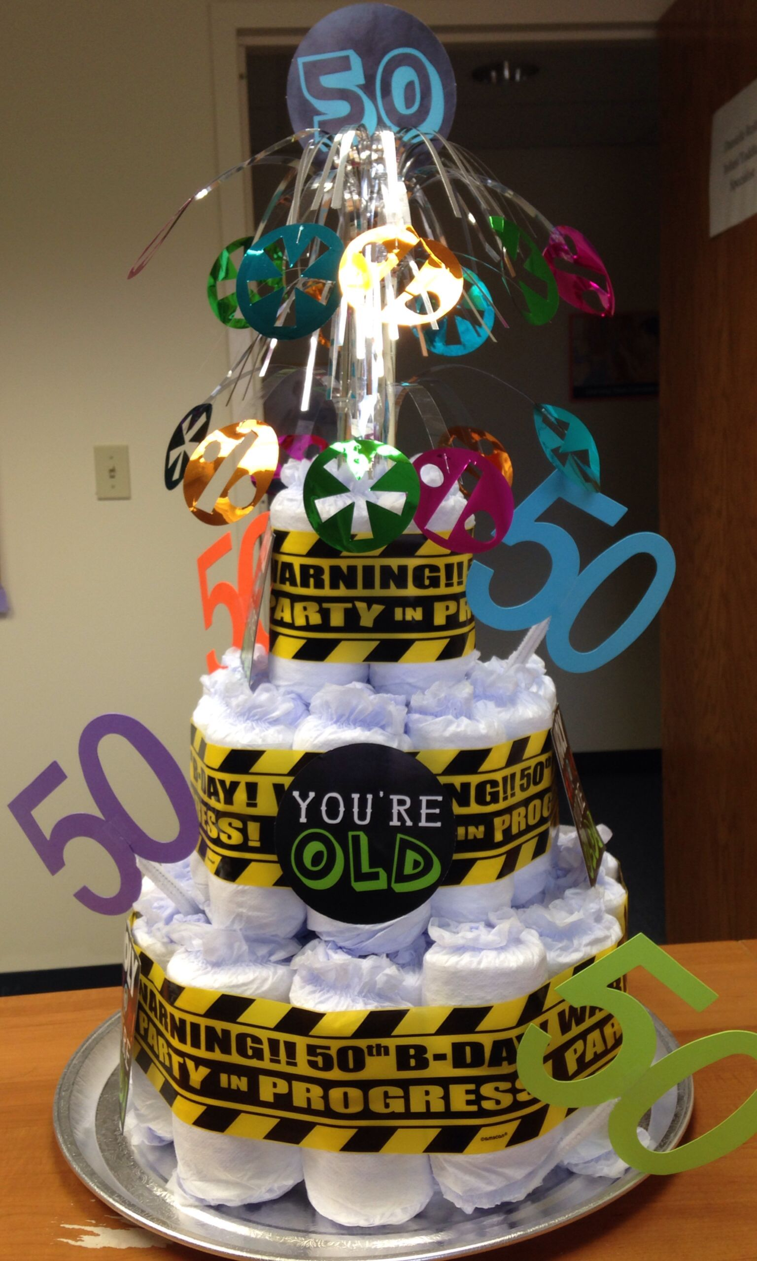 50th Birthday Depends Adult Diaper Cake My Creations In