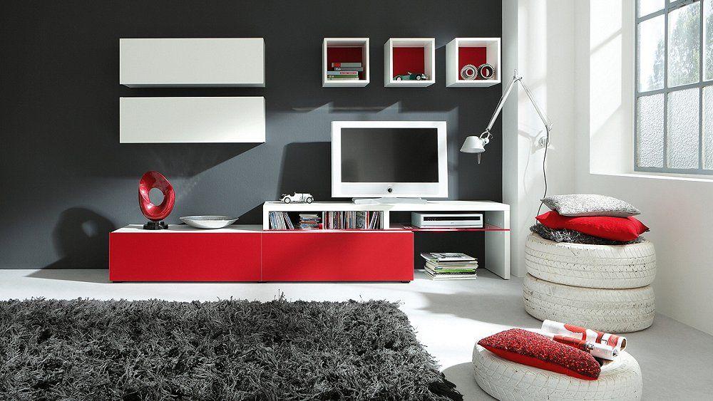 Wohnwand Cassandra Livingroom Red Furniture Wall Unit Furniture Stores Nyc