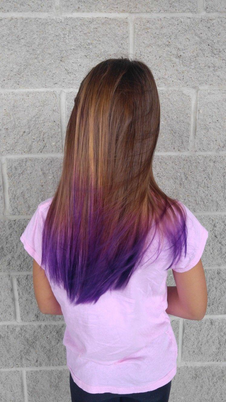 Purple Dip Dye Brown Hair