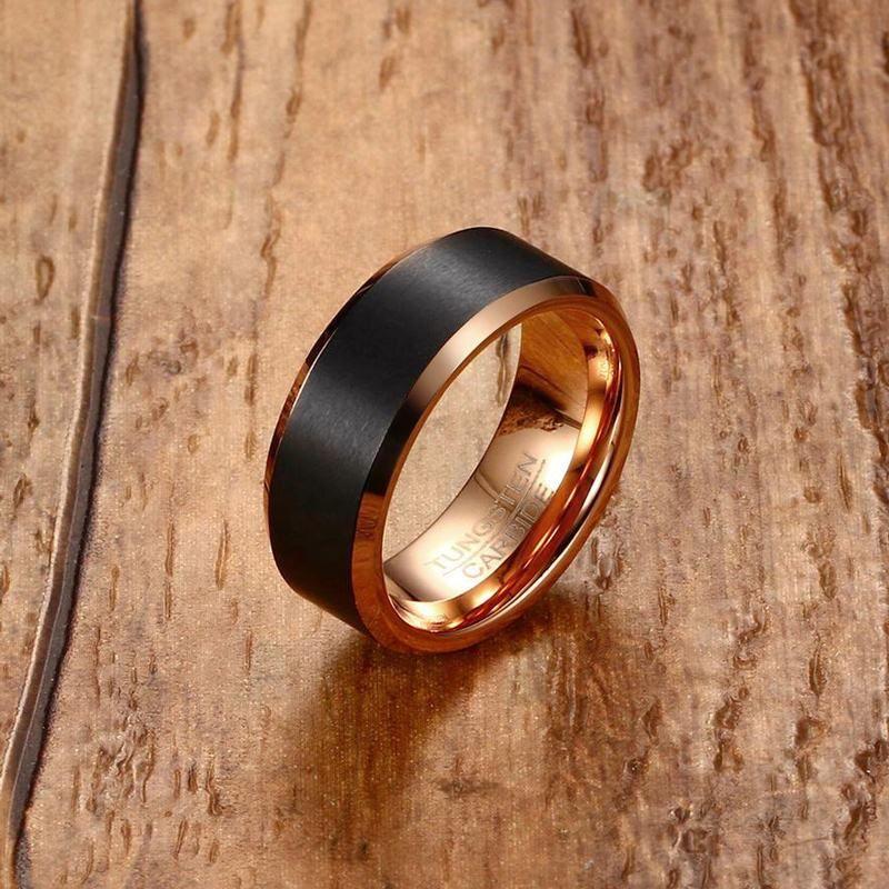 Fashion Mens Tungsten Carbide Ring Men Black Matte Brushed