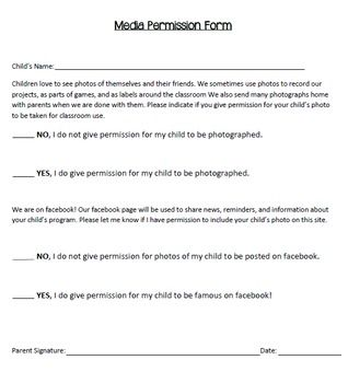 Media permission form my teacherspayteachers store for Social media policy template for schools
