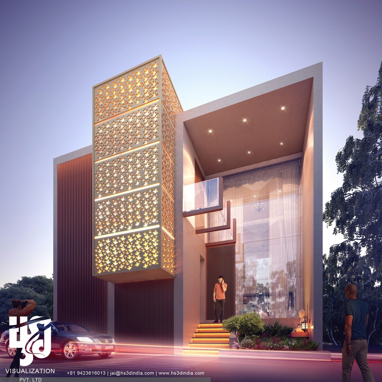 Bungalow 3d Rendering Contemporary Bungalow Rendering: 3D ARCHITECTURAL VISUALIZATION: 3D EXTERIOR NIGHT