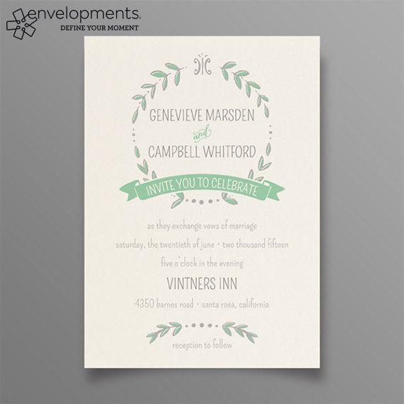 Crown of Laurel Floral Wedding Invitations by lonijanedesigns, $100.00