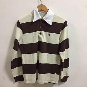 Rare Vtg Hang Ten Yellow Brown  W/ Colored Striping L/S Polo Shirt Men's M  | eBay