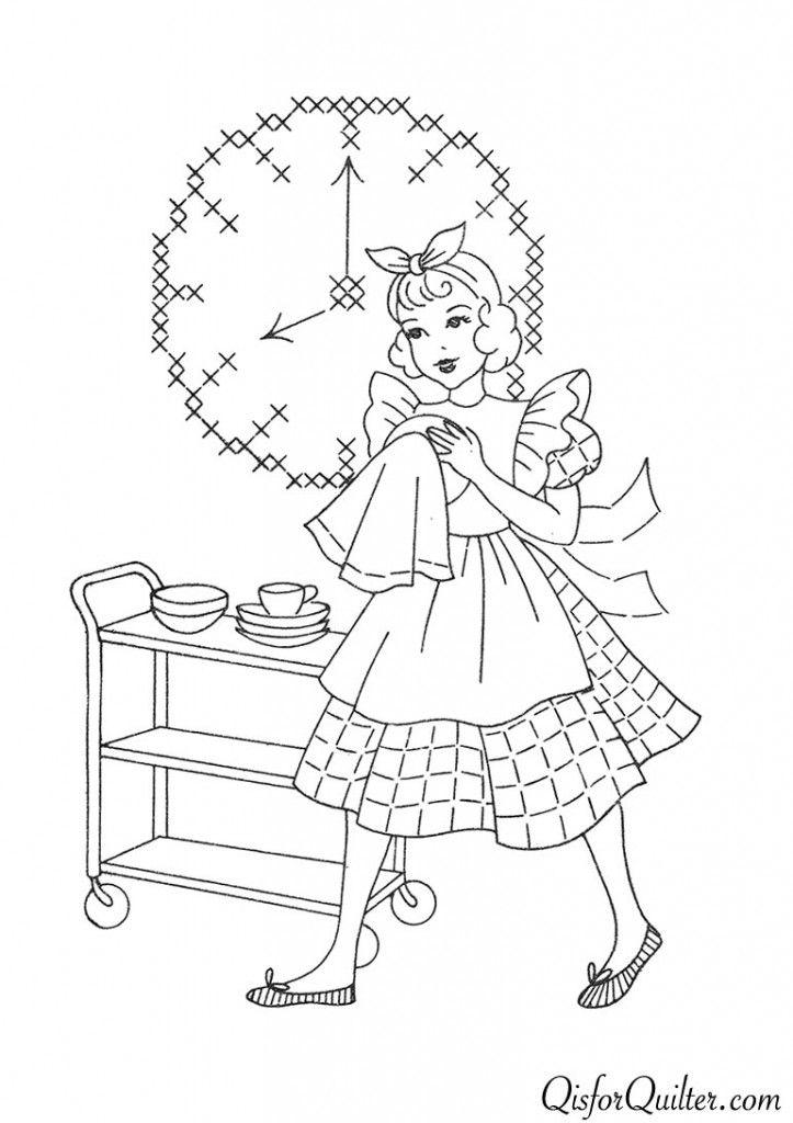 Vintage Embroidery Patterns Superior 132 Kitchen Motifs Free