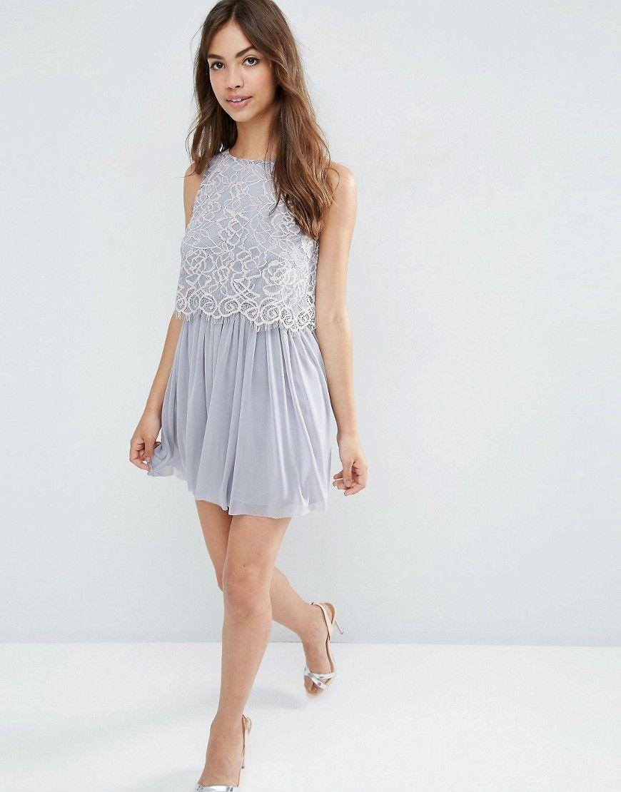 Image 4 of ASOS Delicate Lace Crop Top Mesh Skater Prom Dress | asos ...