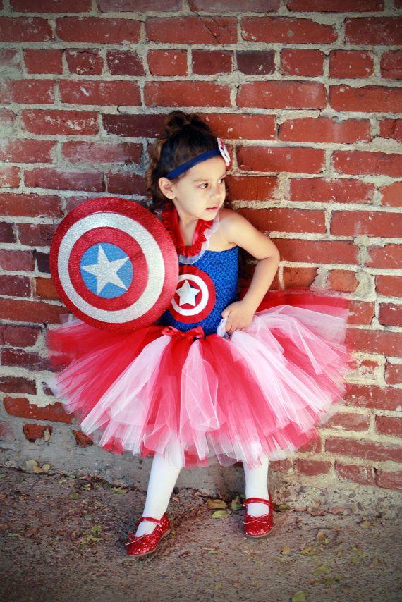 Girl captain america costume captain america tutu dress super hero party marvel - Captain america fille ...