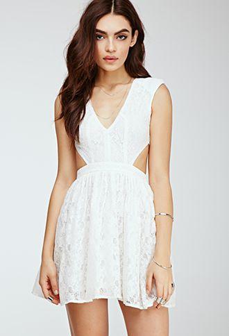 Floral Lace Cutout Dress Short Dresses Casual Lace Cutout Dress White Halter Dress Short