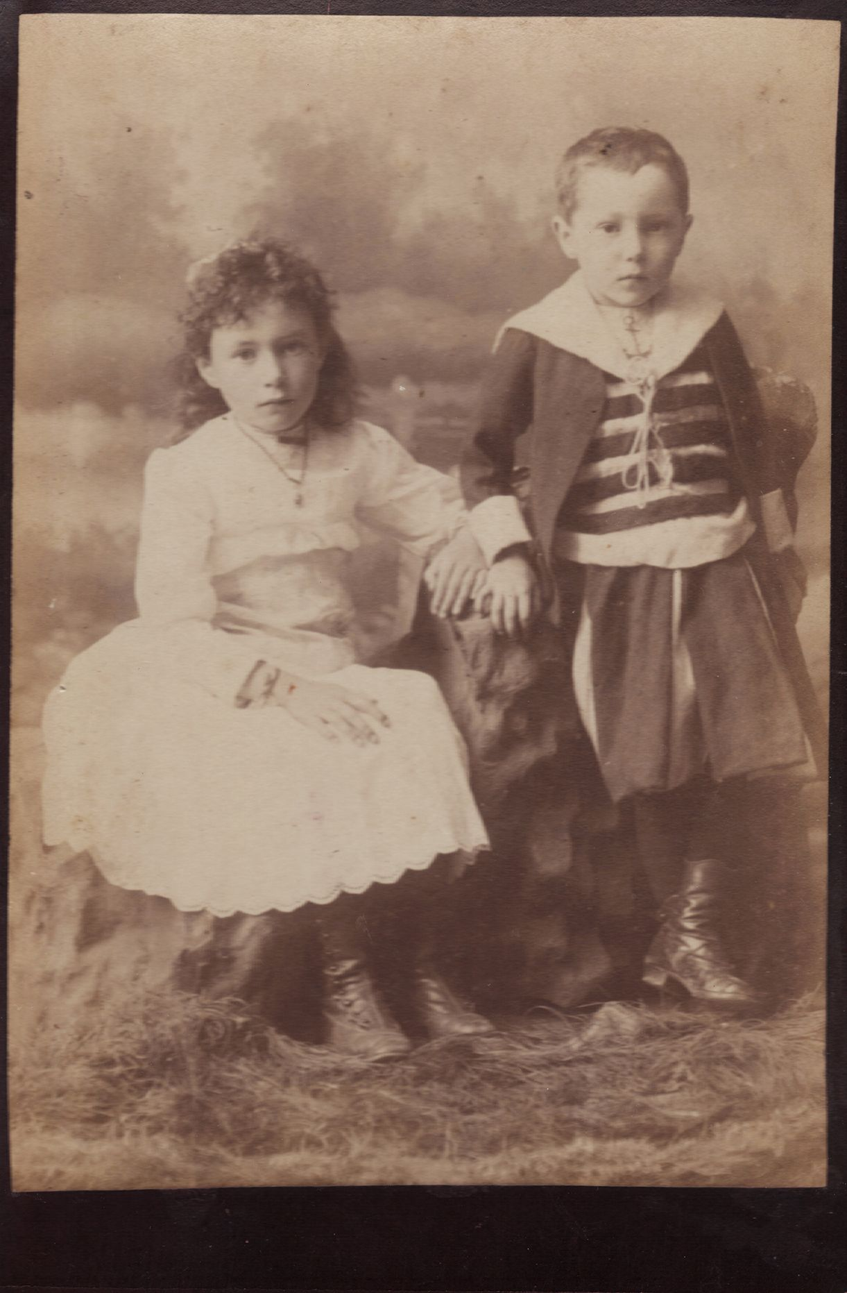There Is ALWAYS One Dead Eye Antique Victorian Sibling Tinted Portrait