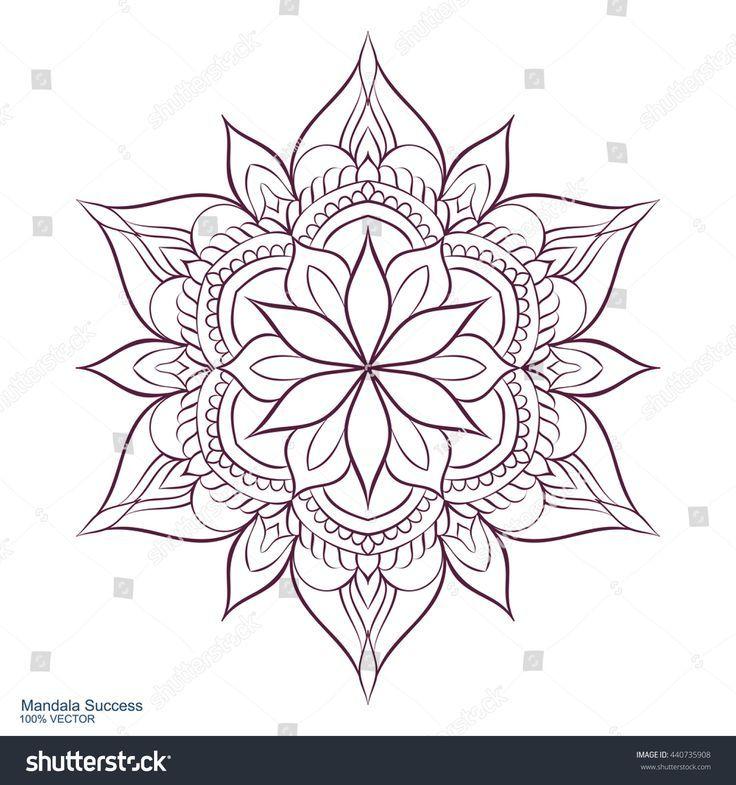 Photo of Mandala success. Circular ornament on a white background. Handmade drawing. Arabs …