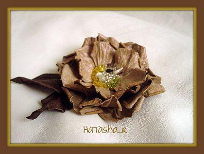 """Брошь """" Шиповник Крем-Брюле"""" - цветы из кожи,брошь цветок,подарок на день рождения"""