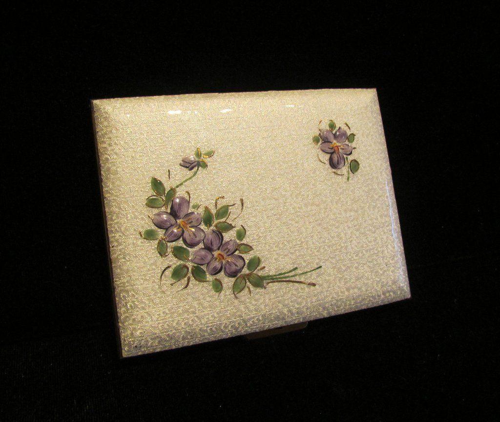 Guilloche cigarette case 1940s violet floral gold business card guilloche cigarette case 1940s violet floral gold business card holder credit card case colourmoves Gallery
