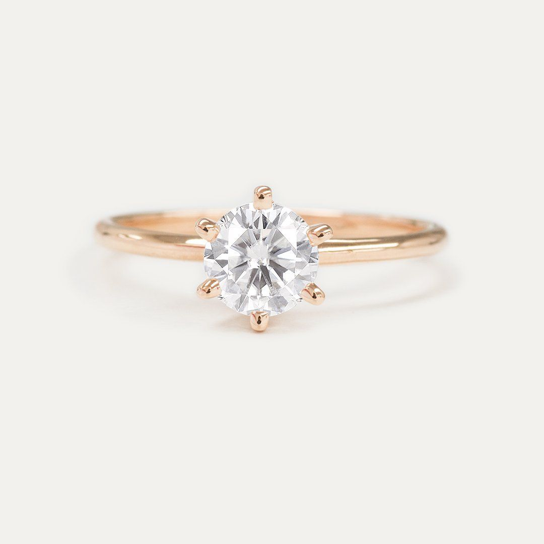 Forever one round moissanite six prong classic solitaire engagement