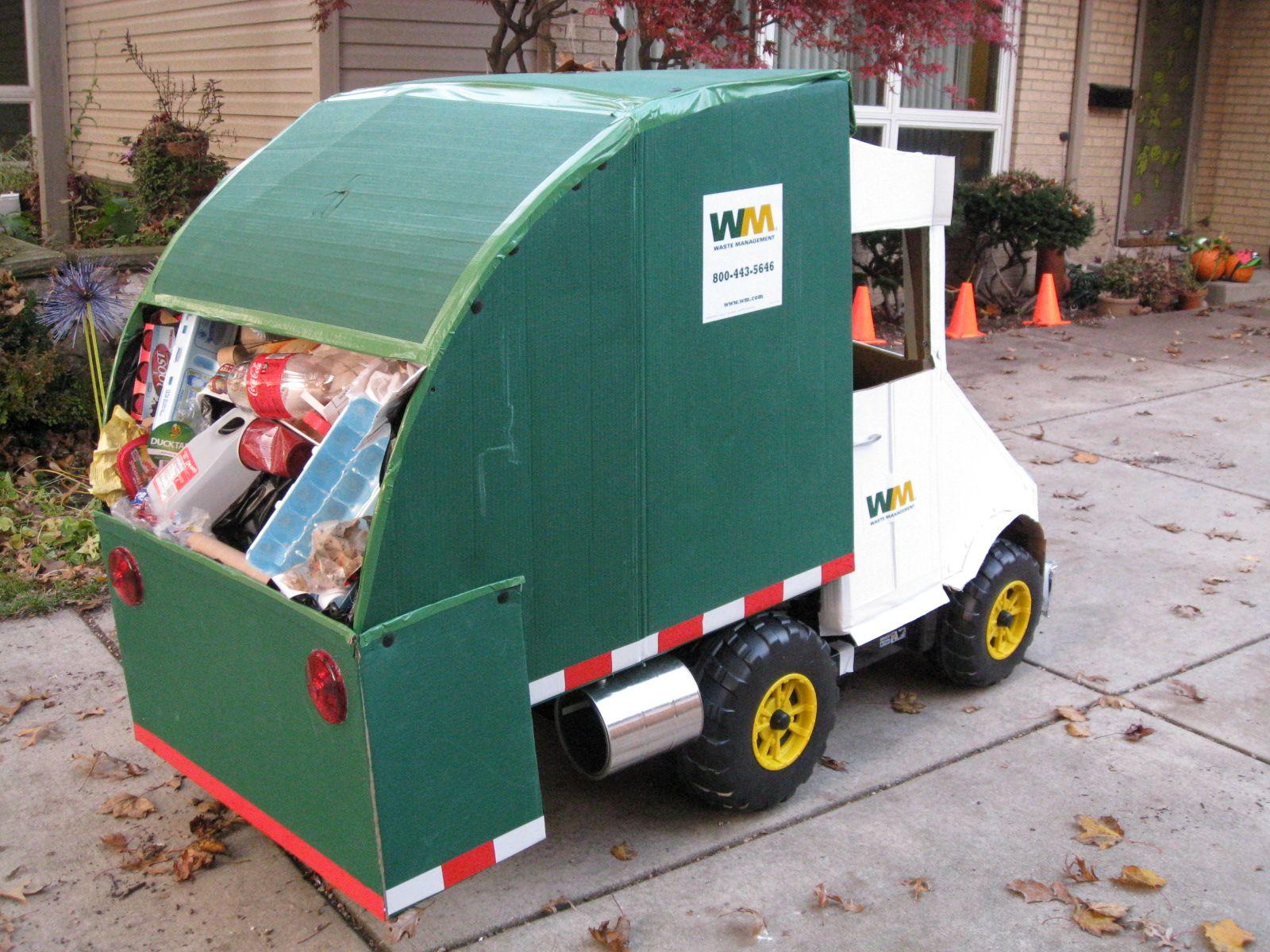 Garbage Truck Power Wheels : Garbage truck halloween costume cardboard creations