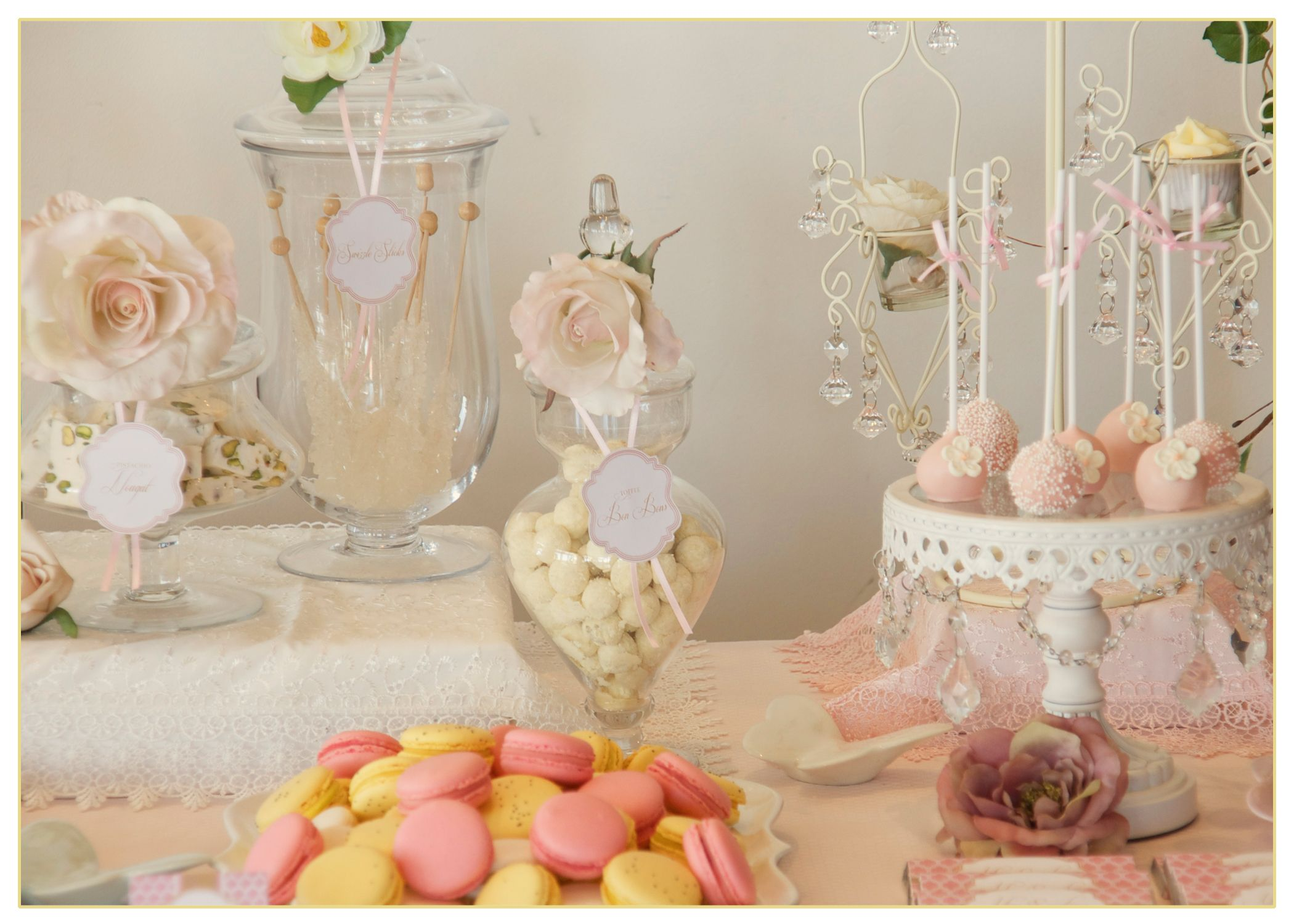 Whimsical and romantic dessert table featured on www
