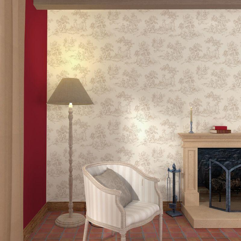Papier Peint Intisse Toile De Jouy Coloris Blanc Toile De Jouy Decoration Maison Intisse