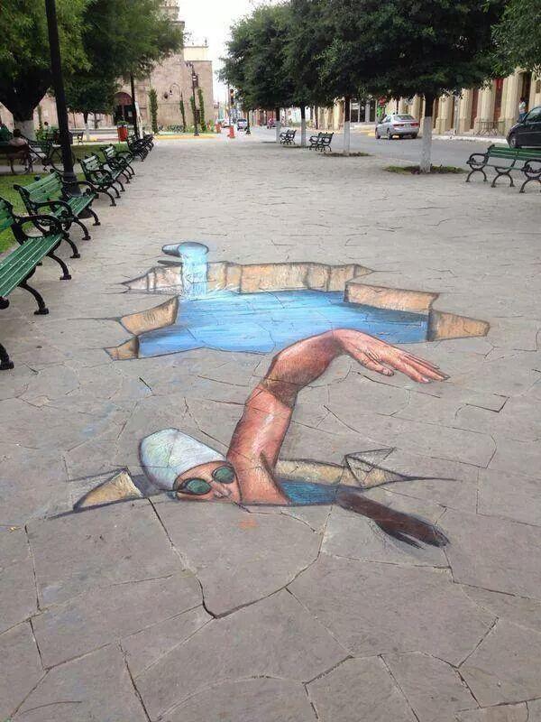 Street art Swimmer