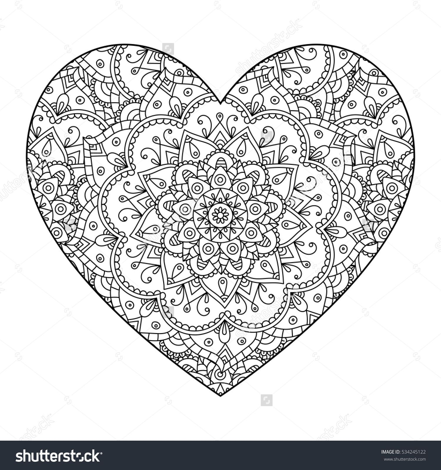 Vector Drawing Of A Heart With A Mandala Pattern Isolated On