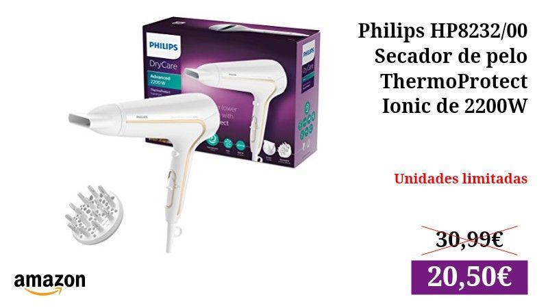 Philips HP8232 00 - Secador de pelo ThermoProtect Ionic de 2200W con ajuste  óptimo de e009e2131165
