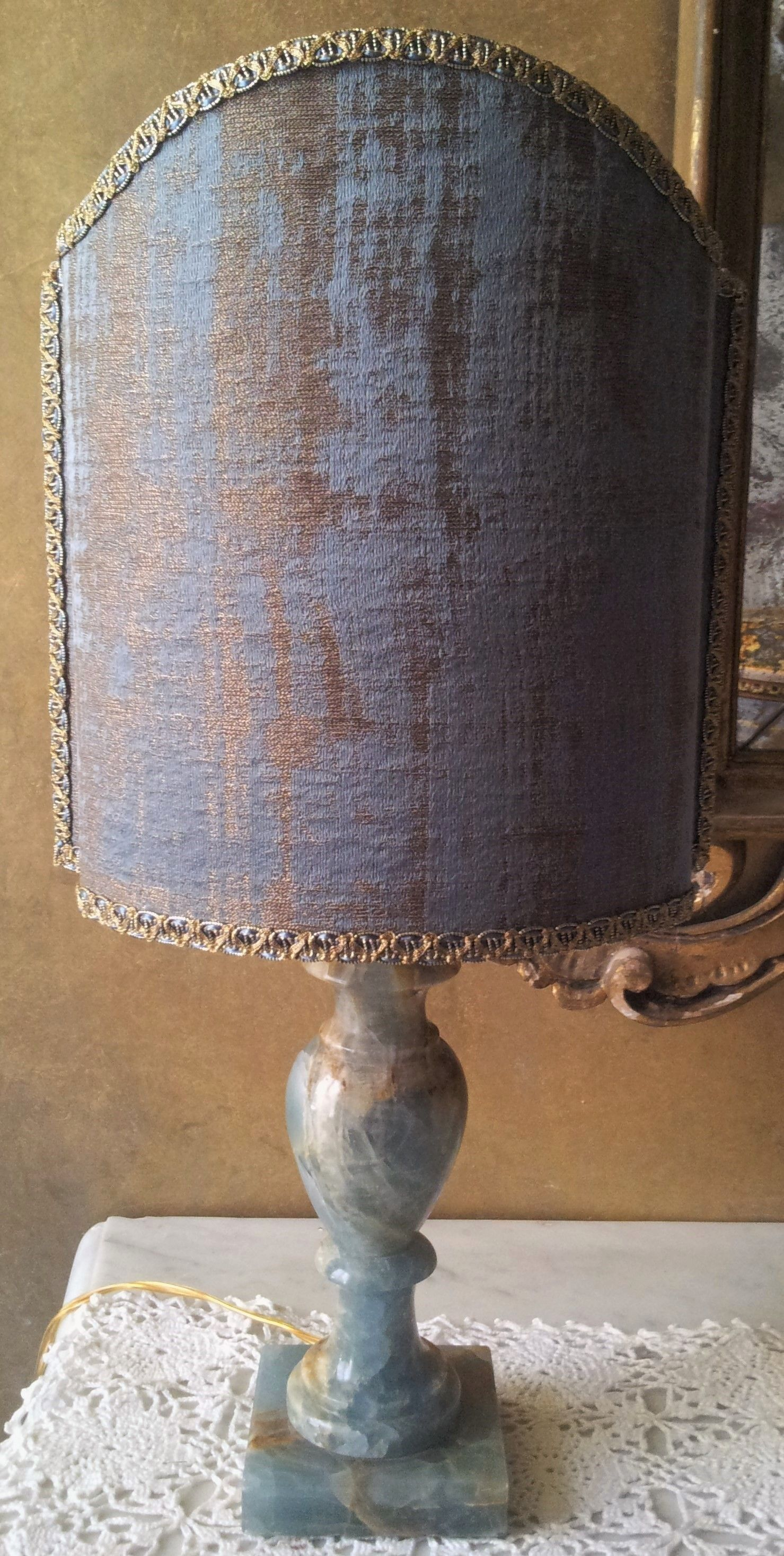 Vintage Blue Onyx Table Lamp With Blue And Gold Rubelli Fabric