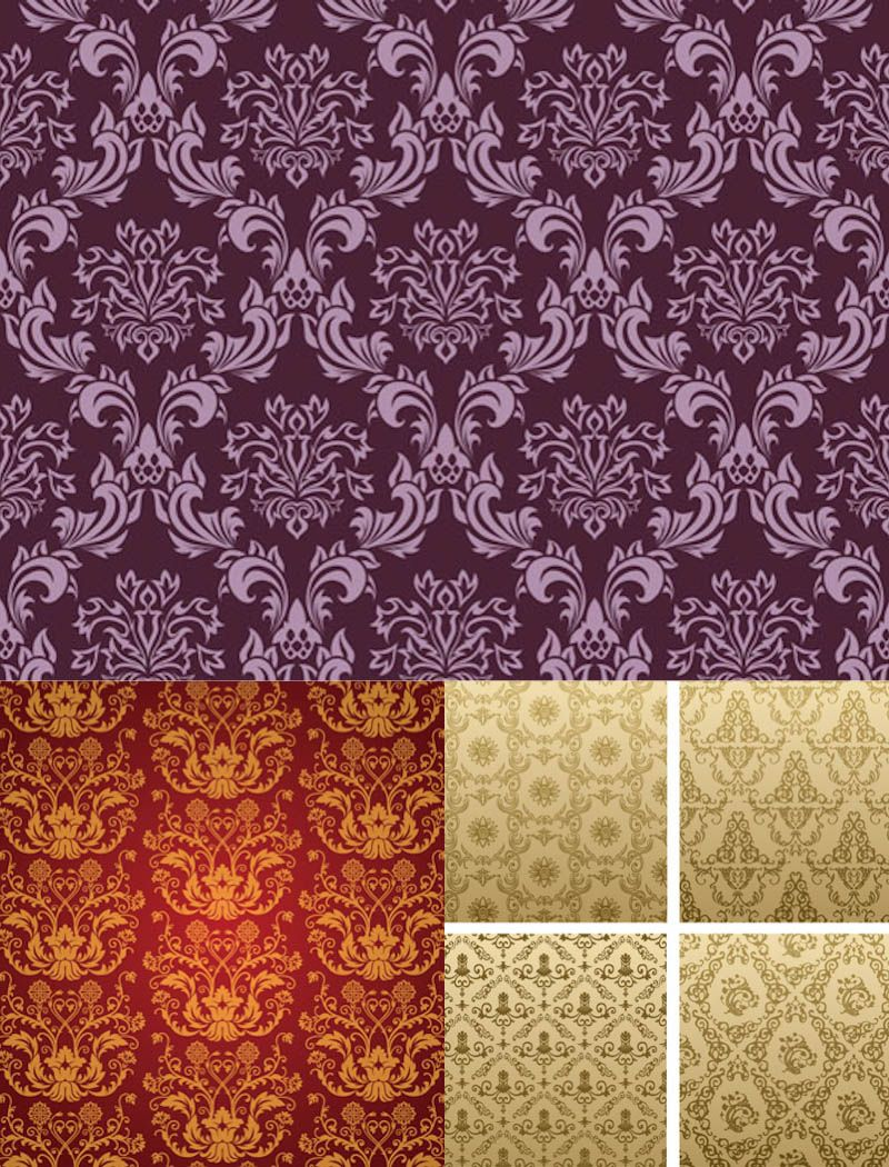 Set of vector seamless Victorian patterns decorated