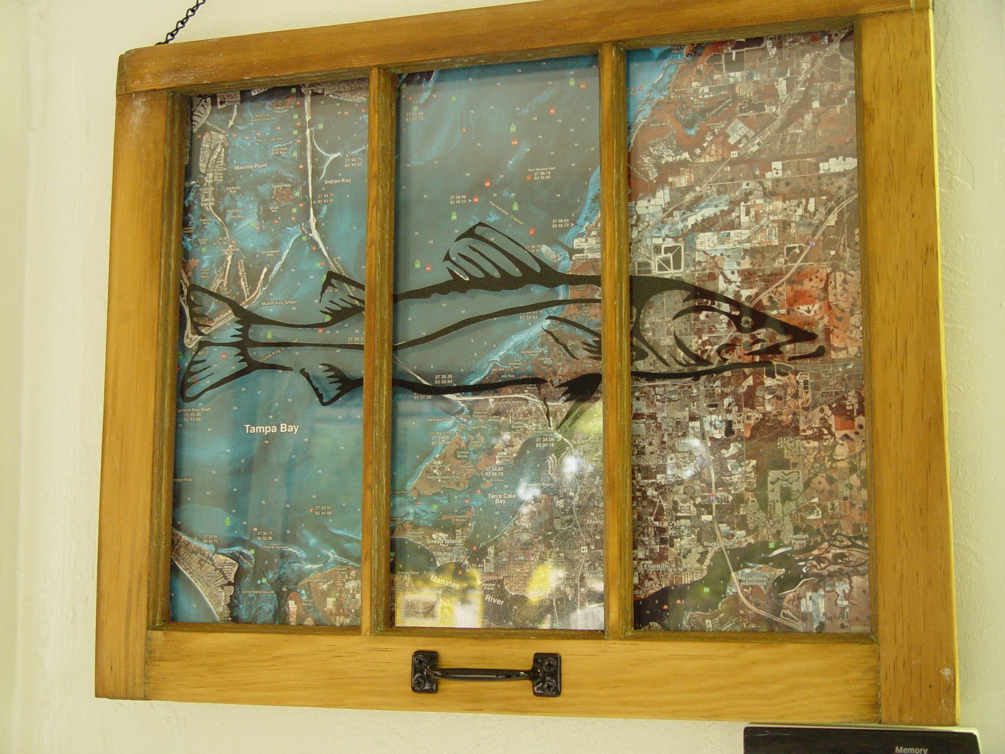 Old wood window nautical map snook stencil