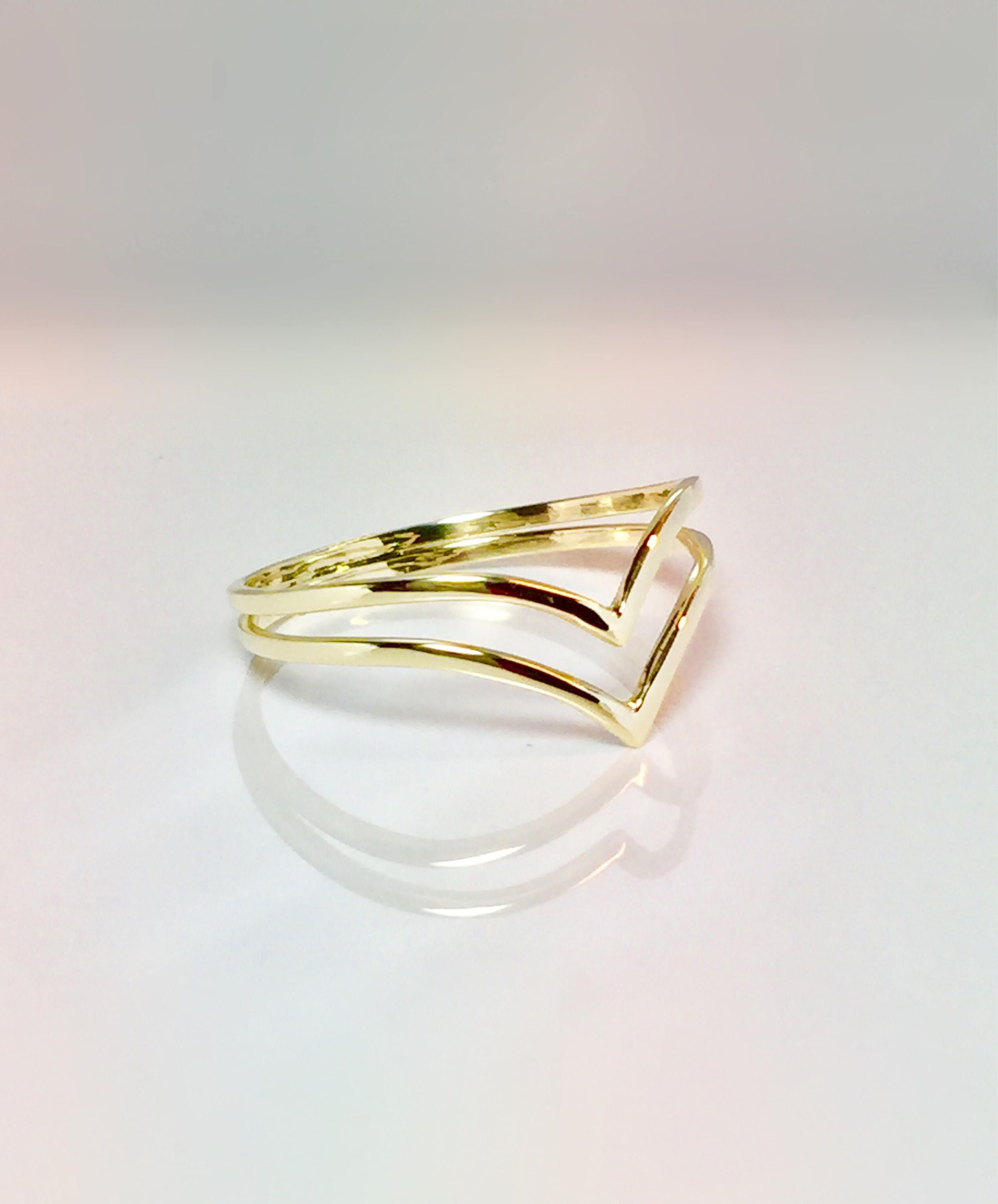 14k 10k Gold Ladies Double V Chevron Ring Gold Pinky Ring Etsy Chevron Ring Gold Thumb Rings Gold Rings Simple