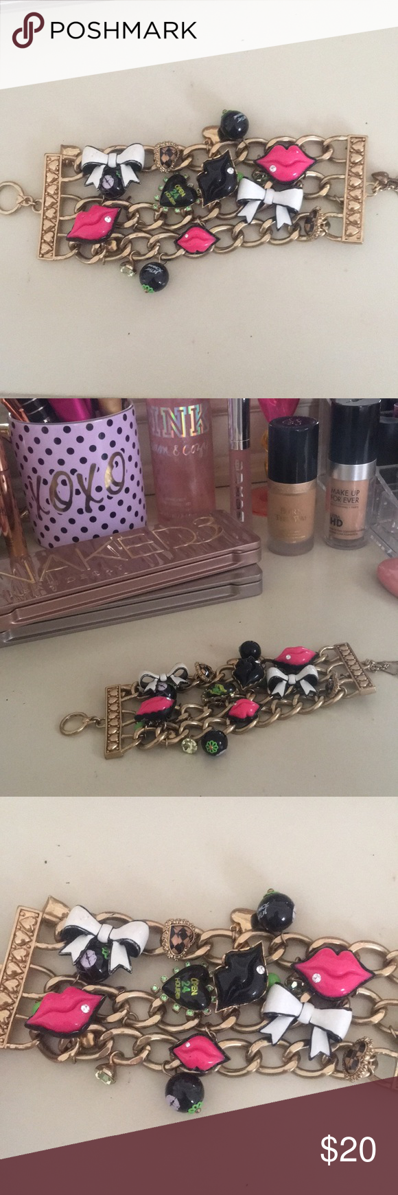 Betsey Johnson Chunky Charm Bracelet Super cool bracelet with tons of charms! Looks like a lot of bracelets in one when you're wearing it 💗 Betsey Johnson Jewelry