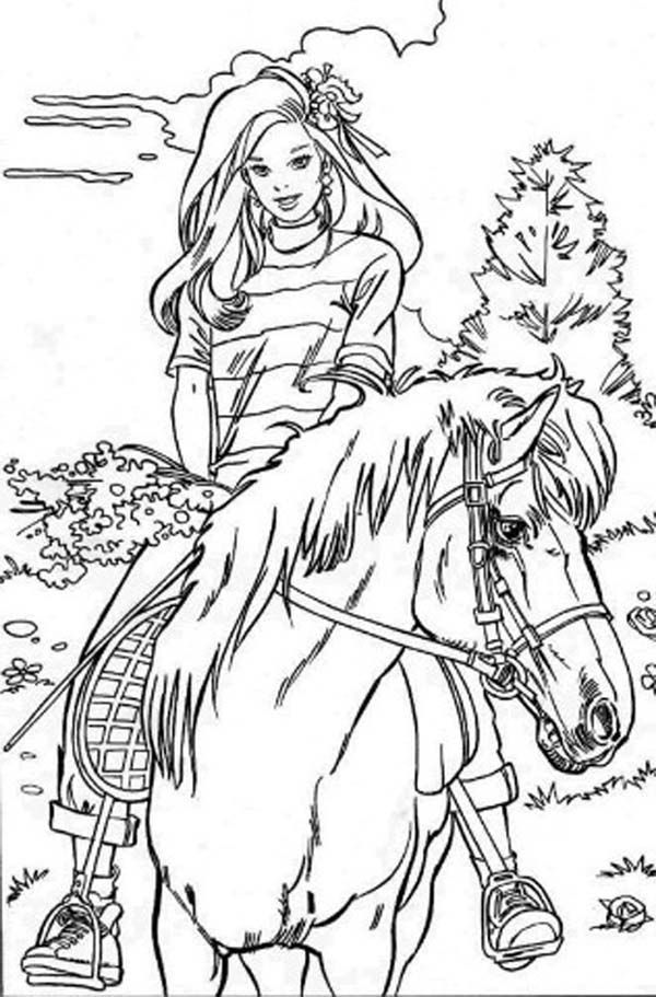 Barbie Doll Riding Horse Coloring Page | Coloring book | Pinterest ...