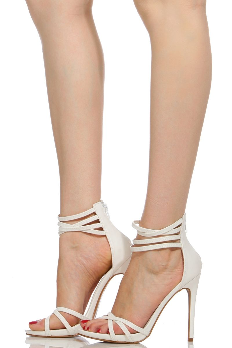 95608a1427a White Faux Leather Multi Ankle Strap Heels @ Cicihot Heel Shoes ...