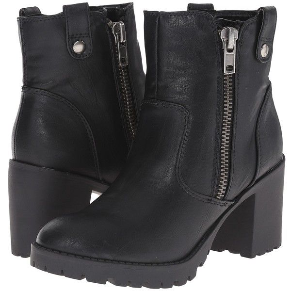 Madden Girl Nukk (Black Paris) Women's Zip Boots ($21) ❤ liked on Polyvore featuring shoes, boots, ankle booties, ankle boots, black, side zip boots, black platform bootie, zip ankle boots, madden girl boots and platform ankle boots