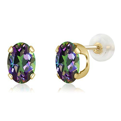 7ce3d41c4 14K Yellow Gold Green Mystic Topaz Womens Stud Earrings 160 cttw Oval 7X5MM  >>> To view further for this item, visit the image link.