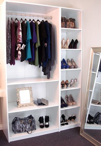 diy wardrobe w ikea shelves smaller version for dress up clothes lifestyle pinterest. Black Bedroom Furniture Sets. Home Design Ideas