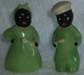 cheerful cool salt and pepper shakers. ANTIQUE Mammy Black Americana Green Salt Pepper Shakers